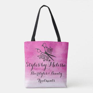 Pink Watercolor Hair Stylist Roses Custom Salon Tote Bag