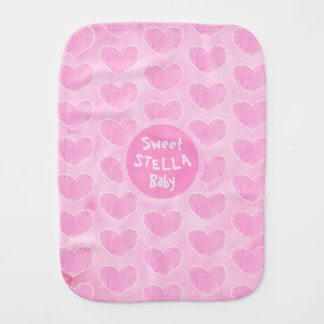 Pink watercolor heart personalized baby burb cloth