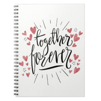 Pink Watercolor Hearts Together Forever Love Notebook