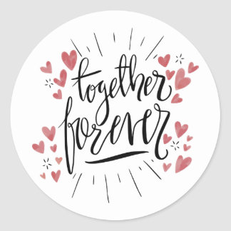 Pink Watercolor Hearts Together Forever Wedding Classic Round Sticker