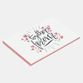 "Pink Watercolor Hearts ""Together Forever"" Wedding Guest Book"