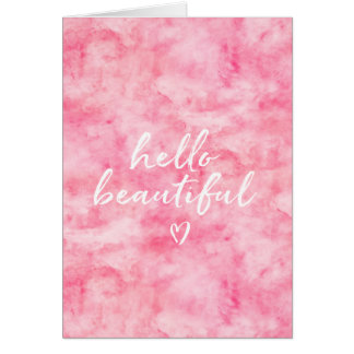 Pink Watercolor Hello Beautiful Heart Card