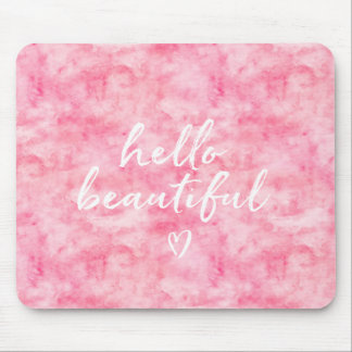 Pink Watercolor Hello Beautiful Heart Mouse Pad