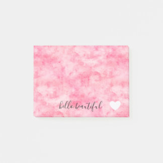 Pink Watercolor Hello Beautiful Heart Post-it Notes