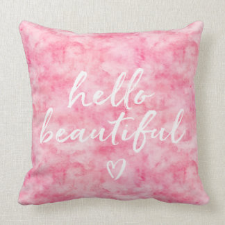Pink Watercolor Hello Beautiful Heart Throw Pillow