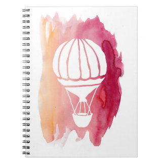 Pink Watercolor Hot Air Balloon Spiral Notebook
