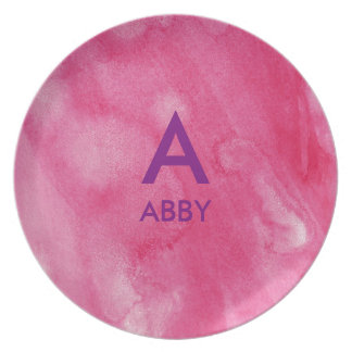 Pink Watercolor Initial Name Personalized Plate