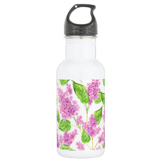 Pink watercolor lilac flowers 532 ml water bottle
