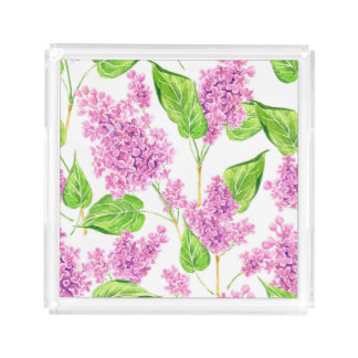 Pink watercolor lilac flowers acrylic tray