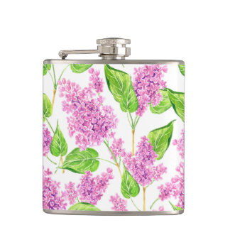 Pink watercolor lilac flowers hip flask