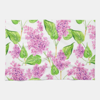 Pink watercolor lilac flowers kitchen towel