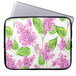 Pink watercolor lilac flowers laptop sleeve