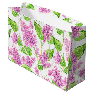 Pink watercolor lilac flowers large gift bag