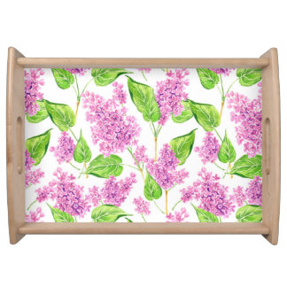Pink watercolor lilac flowers serving tray