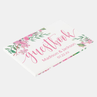 Pink Watercolor Love Blossoms Personalized Wedding Guest Book