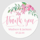Pink Watercolor Love Blossoms Wedding Favour Classic Round Sticker