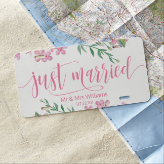Pink Watercolor Love Blossoms Wedding Just Married License Plate