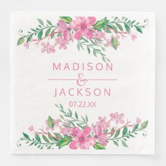 Pink Watercolor Love Blossoms Wedding Monogram Paper Napkins