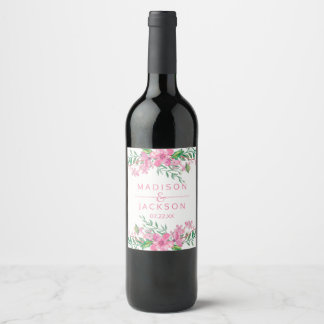 Pink Watercolor Love Blossoms Wedding Monogram Wine Label
