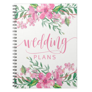 Pink Watercolor Love Blossoms Wedding Planner Notebook
