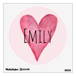 Pink Watercolor Love Heart Baby Girl's Nursery Wall Decal