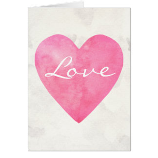 Pink Watercolor Love Heart Card