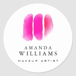 Pink Watercolor Makeup Artist Swatches Classic Round Sticker