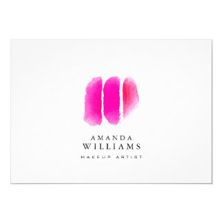 """Pink Watercolor Makeup Swatches Flat Notecard 5"""" X 7"""" Invitation Card"""