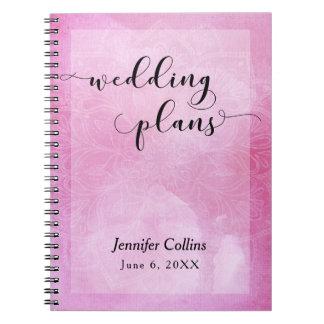 Pink Watercolor Mandala Typography Wedding Planner Spiral Notebook