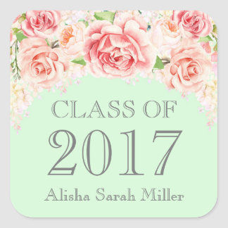 Pink Watercolor Mint Graduation Class of 2017 Square Sticker