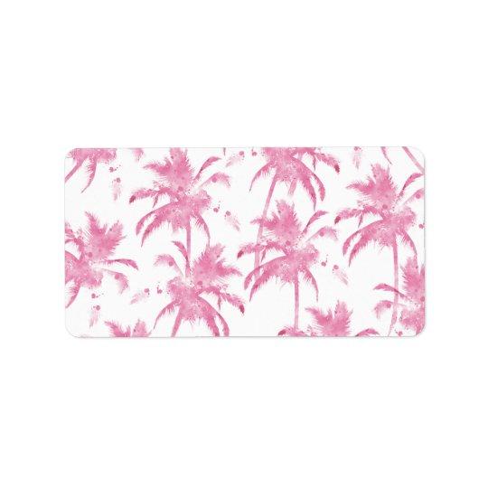 Pink watercolor modern palm tree pattern