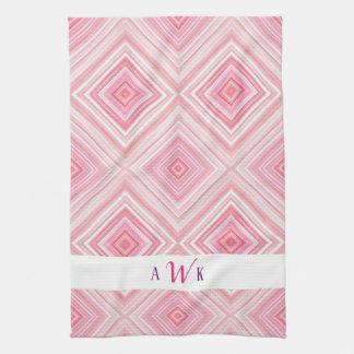 Pink Watercolor Monogram Towel