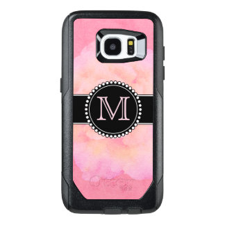 Pink Watercolor, Monogrammed OtterBox Samsung Galaxy S7 Edge Case