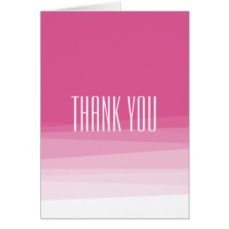Pink Watercolor Ombre thank you Note Card