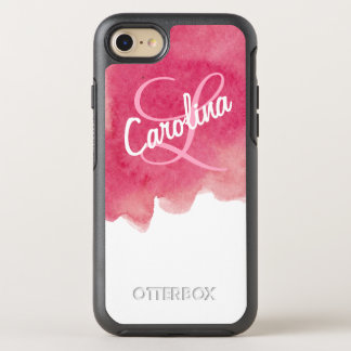 Pink Watercolor Paint Personalized Name & Monogram OtterBox Symmetry iPhone 7 Case