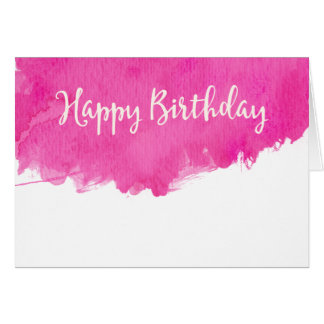 Pink Watercolor Paint Splatter Happy Birthday Card