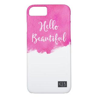 Pink Watercolor Paint Splatter Hello Beautiful iPhone 8/7 Case