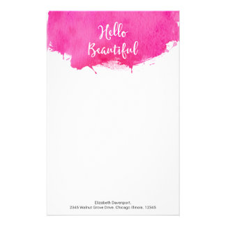 Pink Watercolor Paint Splatter Hello Beautiful Stationery