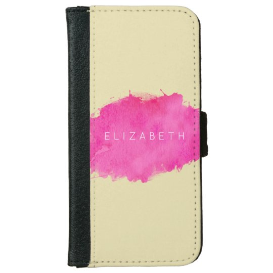 Pink Watercolor Paint Splatter iPhone 6 Wallet Case