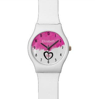 Pink Watercolor Paint Splatter RN Nurse Wristwatches