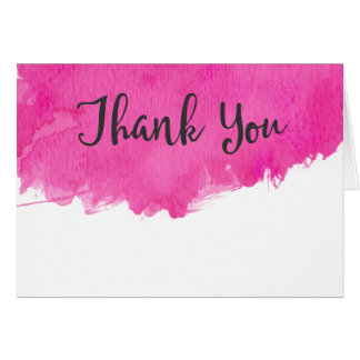 Pink Watercolor Paint Splatter Thank You Card