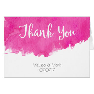 Pink Watercolor Paint Splatter Wedding Thank You Card