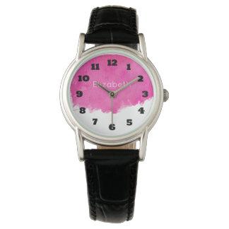 Pink Watercolor Paint Splatter Wristwatches