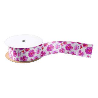Pink watercolor pansy violas art ribbon satin ribbon