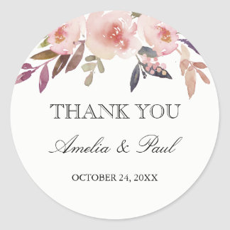 Pink Watercolor Peonies Wedding Thank You Sticker