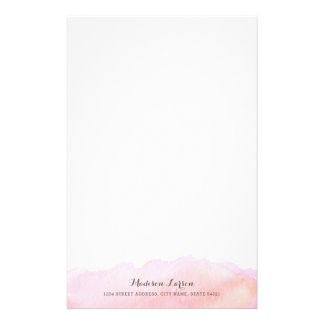 Pink Watercolor Personalized Stationery