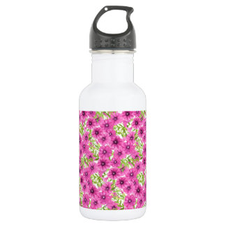 Pink watercolor petunia flower pattern 532 ml water bottle