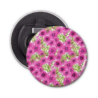 Pink watercolor petunia flower pattern button bottle opener