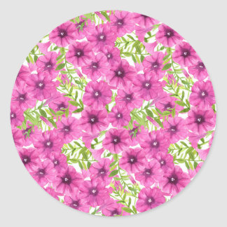 Pink watercolor petunia flower pattern classic round sticker