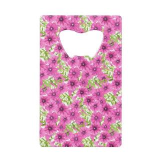 Pink watercolor petunia flower pattern credit card bottle opener